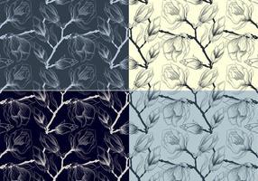 Skisserade blommiga vektormönster