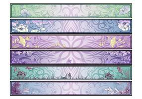 Swirly Floral Banners Vector Set