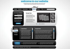 Glatte schwarze Website-Vektor-Vorlage