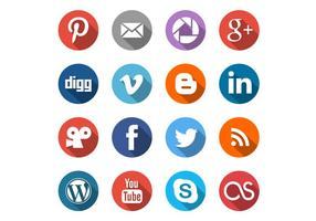 Runda sociala medier ikoner vektor uppsättning
