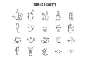 Hand Drawn Drinks Efterrätter Vector Set