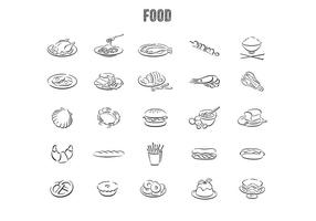 Hand gezeichneter Nahrungsmittelvektorsatz