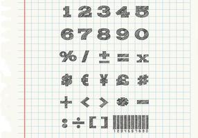 Skizzenhafte Zahlen Vektoren Set