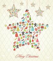 Retro Hängande Julstjärna Vektor Bakgrund