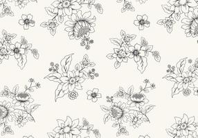 Handdragen svartvitt blommig vektor