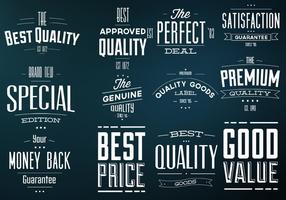 Retro beste Qualitätskennzeichnungs-Vektorsatz vektor