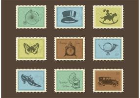 Gratis Vintage Post Frimärken Vector