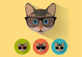 Wayfarer Solglasögon Kattporträtt Vector Set
