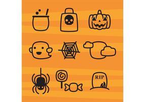 Söt Halloween ikoner vektor
