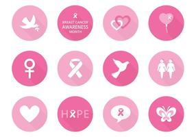 Bröstcancermedvetenhetsvektorikoner
