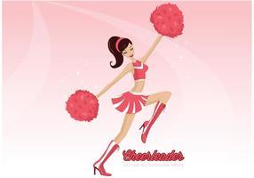 Cheerleader Med Pom Poms Vektor Bakgrund