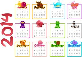 2014 Kalendervektor
