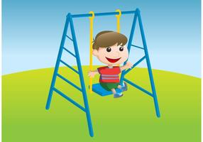 Kid Swinging Vector