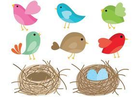 Fåglar I Nest Vector