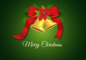 Gratis Golden Jingle Bells Med Red Bow Vector Bakgrund