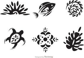 Hawaii Tribal Vektoren in Schwarz und Weiß