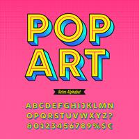 pop art retro alfabetet vektor