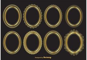 Guld ovala vektorramar vektor