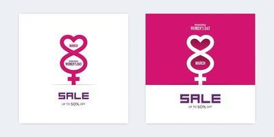 internationella kvinnors dag försäljning rabatt minimala banners