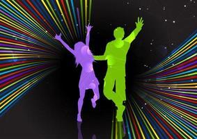Party-Paar auf einem Retro gestreift