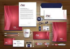 röd dyanmisk linjeidentitetsuppsättning och reklamartiklar