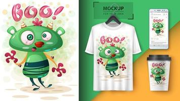 verrücktes grünes boo Monsterplakat