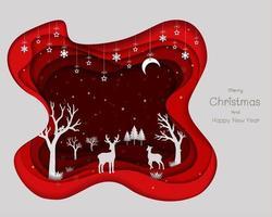 Papierkunstdesign mit Hirschfamilie und Schneeflocken vektor