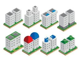 uppsättning av isometriska byggnadselement