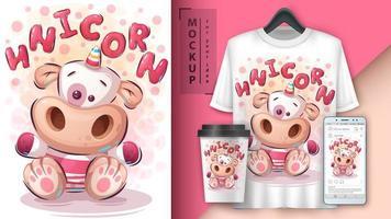 teddy enhörningsposter och merchandising vektor