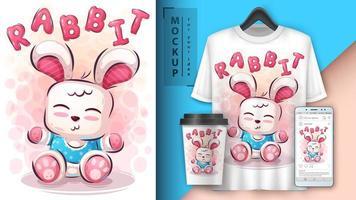 nalle kanin affisch och merchandising. vektor