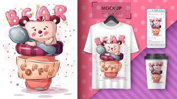 björn i kaffe kopp affisch