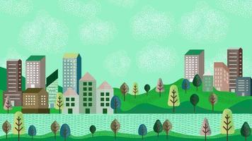Flussstadtillustration im einfachen minimalen geometrischen flachen Stil