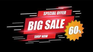 stor försäljning banner hastighet ljus layout med rabattprocent av