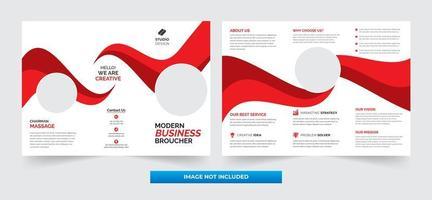 röd och vit våg företags tri-fold mall design vektor