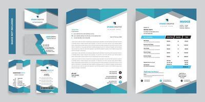 blaues grünes modernes Firmenbriefpapierschablonenset vektor