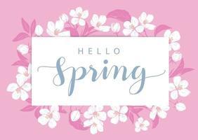 rosa hej vårkort med blommor vektor