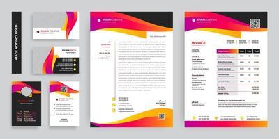buntes modernes Geschäftsunternehmensbriefpapierschablonenset vektor