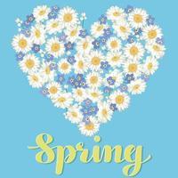 hjärta med blommor och bokstäver våren vektor