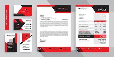 Schwarzer und roter moderner Geschäftsbriefpapierschablonensatz vektor