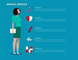 målsida för medicinska tjänster med kvinnlig arbetare vektor