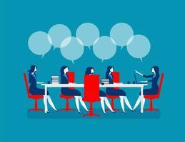 affärskvinnor möte för marknadsföring