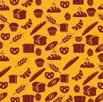 nahtloses Muster von Gebäck und Brot vektor
