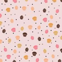 söt och välsmakande mat efterrätt cupcake mönster vektor