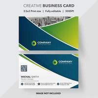 kreativa blå och gröna lutning visitkort