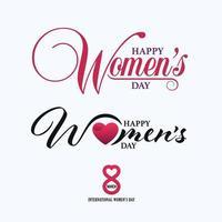 mars 8: e lyckliga kvinnodag kalligrafiska bokstäver mallar
