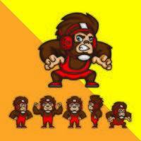 uppsättning tecknad brottare apor vektor