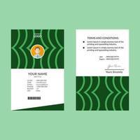 grüne ID-Kartenvorlage mit abgerundeten Linien vektor