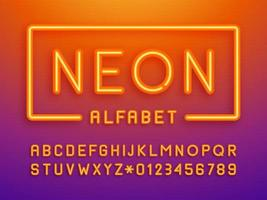 orange neonljus bokstäver och siffror vektor