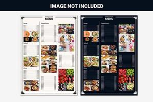 Restaurantmenüliste für mehrere Bilder vektor