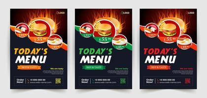 Fast-Food-Flyer auf dunklem Hintergrund eingestellt vektor